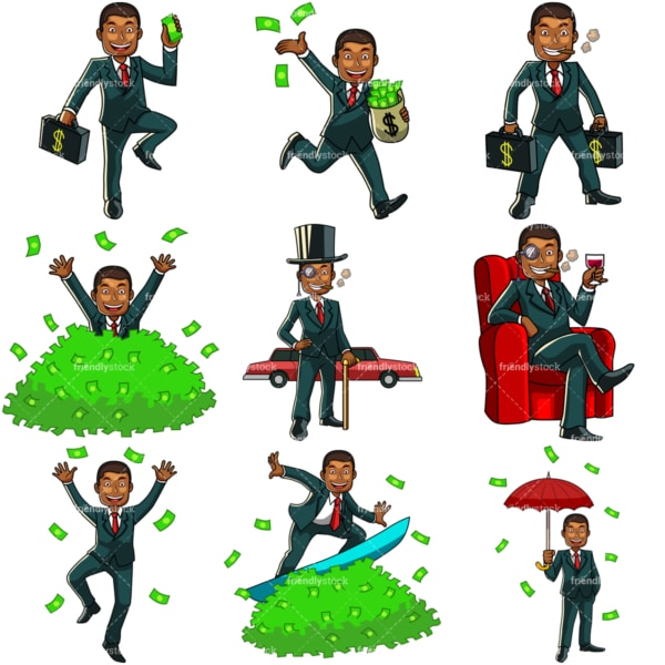 9 money vector images of a rich black man. PNG - JPG and vector EPS file formats (infinitely scalable). Images isolated on transparent background.