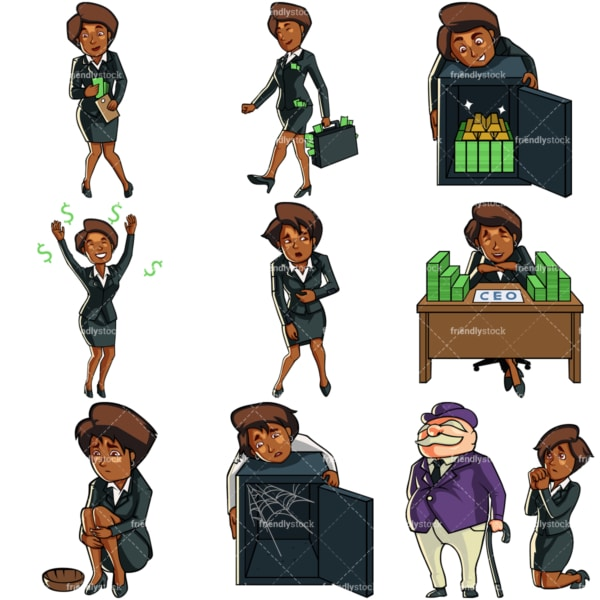 9 money vectors of a black businesswoman. PNG - JPG and vector EPS file formats (infinitely scalable). Images isolated on transparent background.