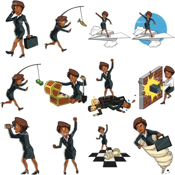 9 vector graphics of a black female professional. PNG - JPG and vector EPS file formats (infinitely scalable). Images isolated on transparent background.