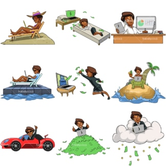 9 vector images of a black female internet entrepreneur. PNG - JPG and vector EPS file formats (infinitely scalable). Images isolated on transparent background.