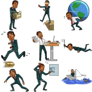 9 vector images of a black man in difficult situations. PNG - JPG and vector EPS file formats (infinitely scalable). Images isolated on transparent background.