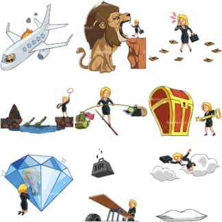 9 vector images of a female entrepreneur in business poses. PNG - JPG and vector EPS file formats (infinitely scalable). Images isolated on transparent background.