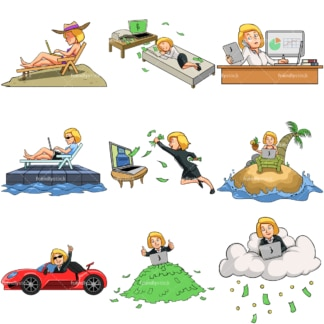 9 vector images of a female online entrepreneur. PNG - JPG and vector EPS file formats (infinitely scalable). Images isolated on transparent background.