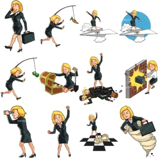 9 vector images of a female professional in business poses. PNG - JPG and vector EPS file formats (infinitely scalable). Images isolated on transparent background.