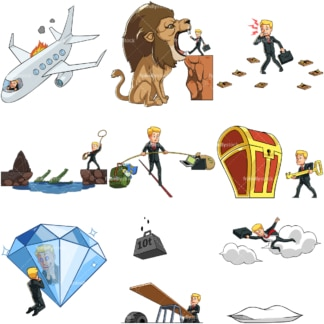 9 vector images of a male entrepreneur in various business poses. PNG - JPG and vector EPS file formats (infinitely scalable). Images isolated on transparent background.