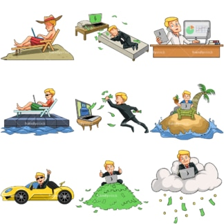 9 vector images of a young internet entrepreneur. PNG - JPG and vector EPS file formats (infinitely scalable). Images isolated on transparent background.