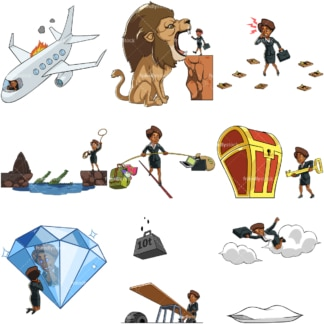 9 vectors of a black female entrepreneur in business poses. PNG - JPG and vector EPS file formats (infinitely scalable). Images isolated on transparent background.