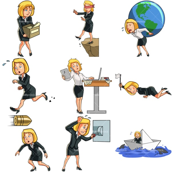 9 vectors of a female professional in challenging situations. PNG - JPG and vector EPS file formats (infinitely scalable). Images isolated on transparent background.