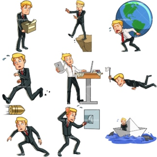 9 vectors of a male professional in challenging situations. PNG - JPG and vector EPS file formats (infinitely scalable). Images isolated on transparent background.