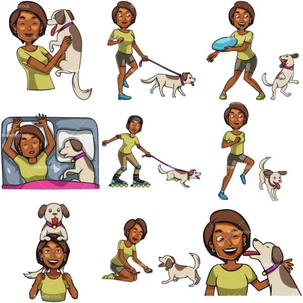 African-American woman spending time with dog. PNG - JPG and vector EPS file formats (infinitely scalable). Images isolated on transparent background.