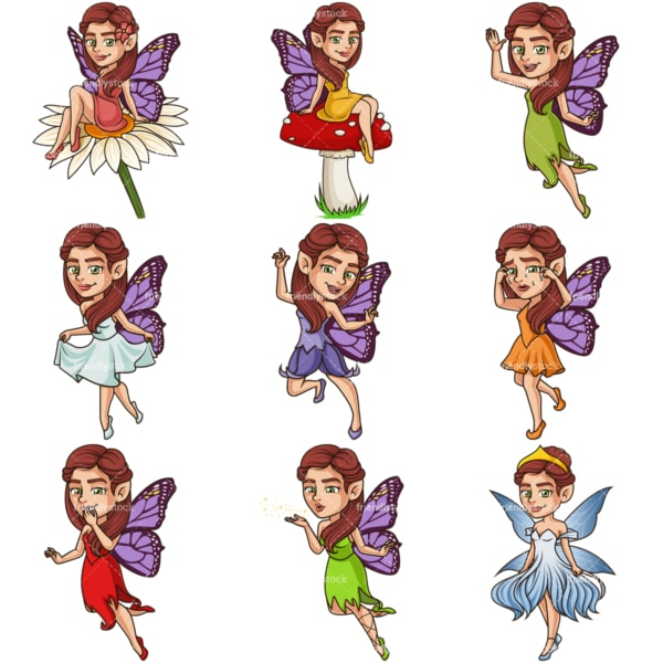 Beautiful fairies. PNG - JPG and infinitely scalable vector EPS - on white or transparent background.