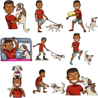 Black male spending time with his dog. PNG - JPG and vector EPS file formats (infinitely scalable). Images isolated on transparent background.