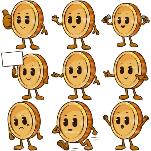 Coin mascot cartoon character. PNG - JPG and infinitely scalable vector EPS - on white or transparent background.