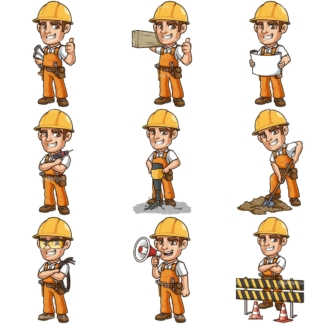 Construction worker. PNG - JPG and infinitely scalable vector EPS - on white or transparent background.