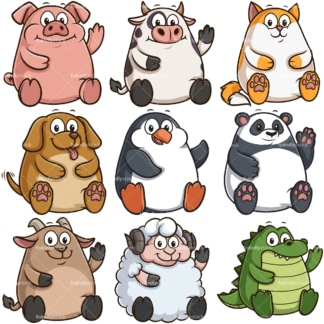 Chubby animals. PNG - JPG and infinitely scalable vector EPS - on white or transparent background.