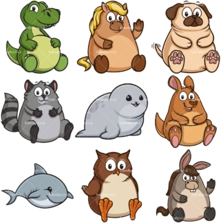Funny fat animals. PNG - JPG and infinitely scalable vector EPS - on white or transparent background.