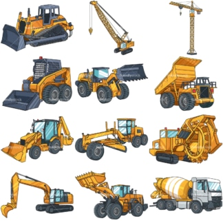 Heavy construction vehicles. PNG - JPG and vector EPS file formats (infinitely scalable). Images isolated on transparent background.