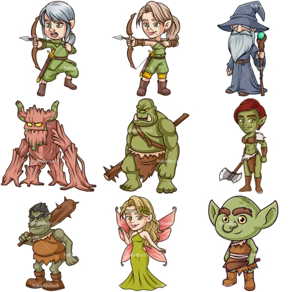 Magical forest creatures. PNG - JPG and infinitely scalable vector EPS - on white or transparent background.