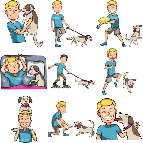Man spending quality time with dog. PNG - JPG and vector EPS file formats (infinitely scalable). Images isolated on transparent background.