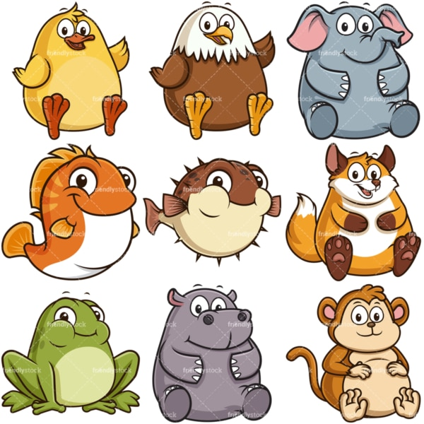 Fat animals. PNG - JPG and infinitely scalable vector EPS - on white or transparent background.