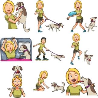 Woman spending time with her dog. PNG - JPG and vector EPS file formats (infinitely scalable). Images isolated on transparent background.