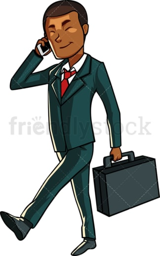 Black businessman chatting on cell phone. PNG - JPG and vector EPS file formats (infinitely scalable). Image isolated on transparent background.