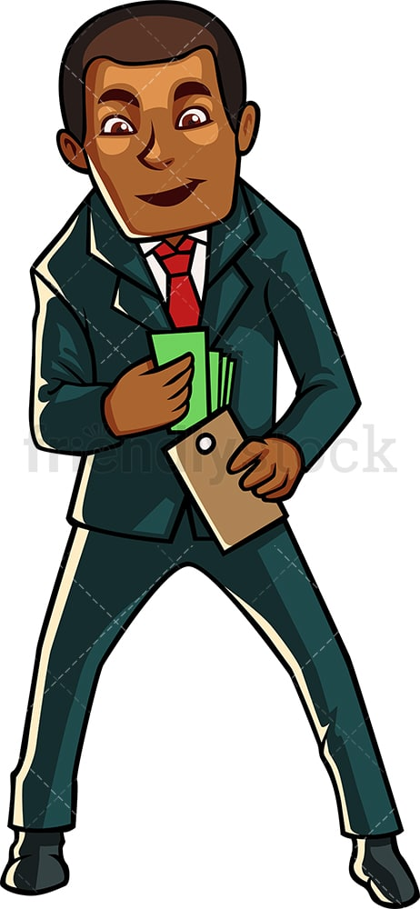 Black businessman holding wallet. PNG - JPG and vector EPS file formats (infinitely scalable). Image isolated on transparent background.