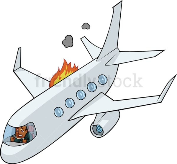 Black businessman in a fiery airplane. PNG - JPG and vector EPS file formats (infinitely scalable). Image isolated on transparent background.