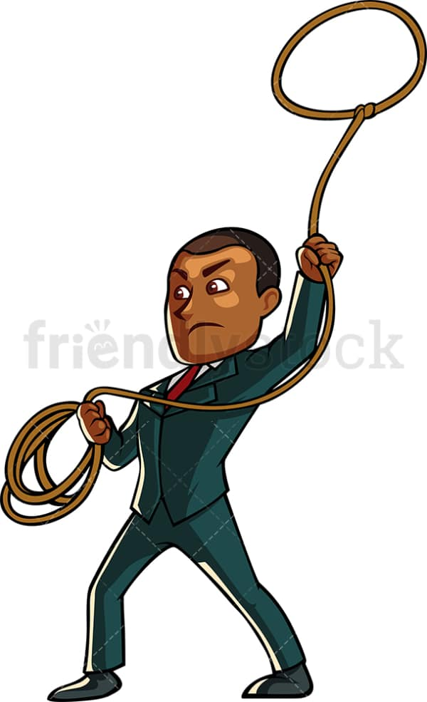 Black businessman throwing the lasso. PNG - JPG and vector EPS file formats (infinitely scalable). Image isolated on transparent background.