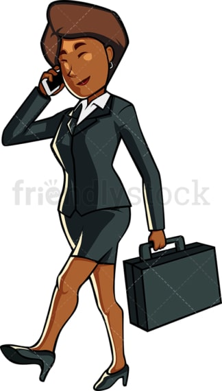 Black businesswoman talking on phone. PNG - JPG and vector EPS file formats (infinitely scalable). Image isolated on transparent background.