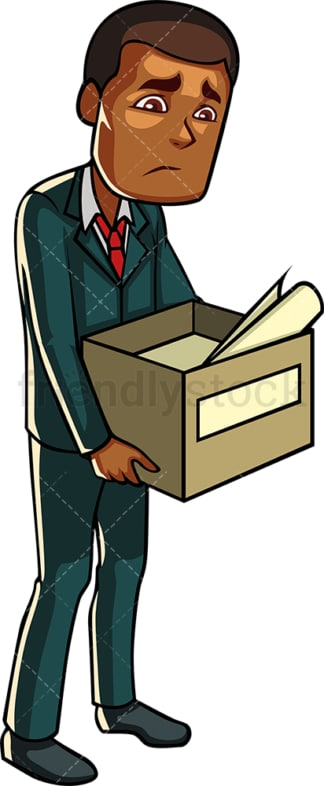 Laid off black employee. PNG - JPG and vector EPS file formats (infinitely scalable). Image isolated on transparent background.