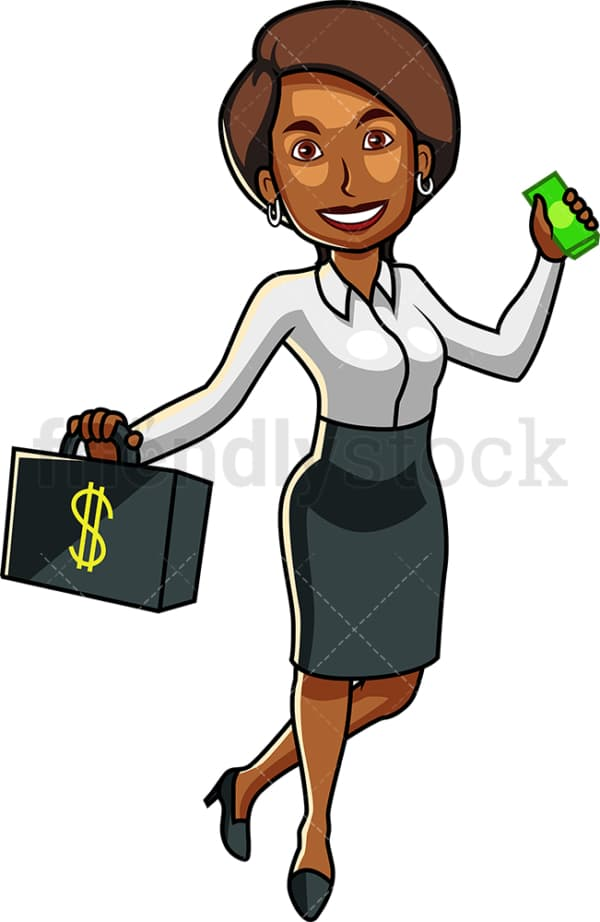 Black female holding wad of cash. PNG - JPG and vector EPS file formats (infinitely scalable). Image isolated on transparent background.