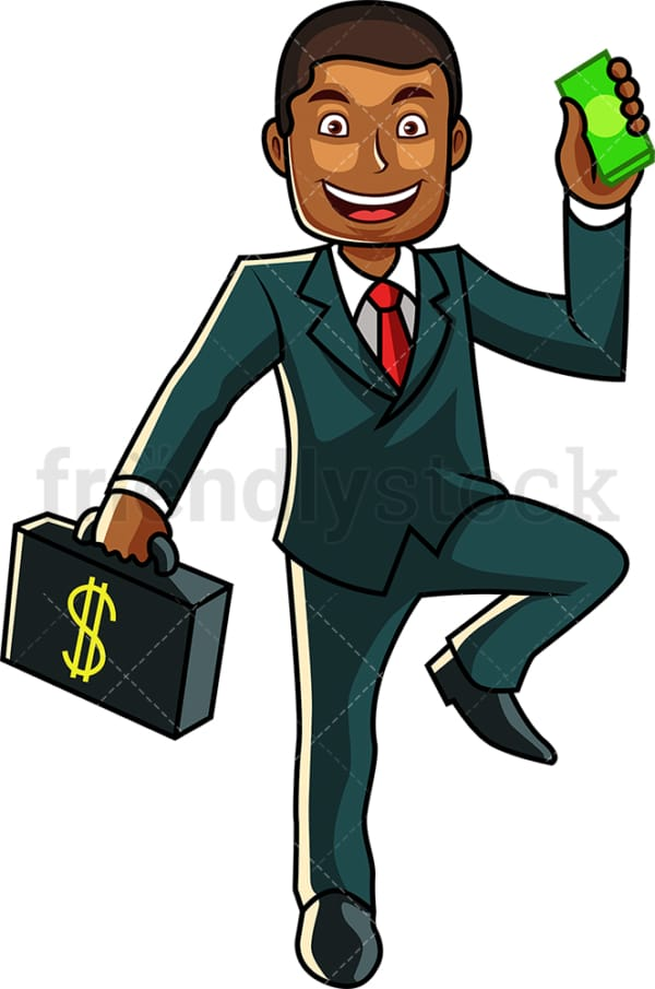 Black man carrying money briefcase. PNG - JPG and vector EPS file formats (infinitely scalable). Image isolated on transparent background.