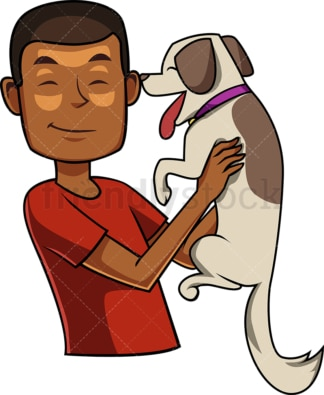 Black man holding puppy dog. PNG - JPG and vector EPS file formats (infinitely scalable). Image isolated on transparent background.