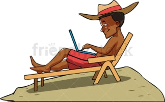 Black man with laptop at the beach. PNG - JPG and vector EPS file formats (infinitely scalable). Image isolated on transparent background.