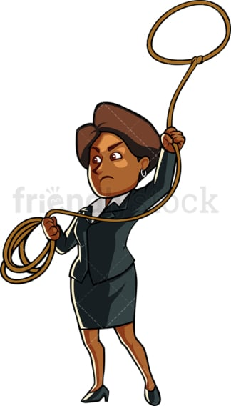 Black woman entrepreneur throwing lasso. PNG - JPG and vector EPS file formats (infinitely scalable). Image isolated on transparent background.