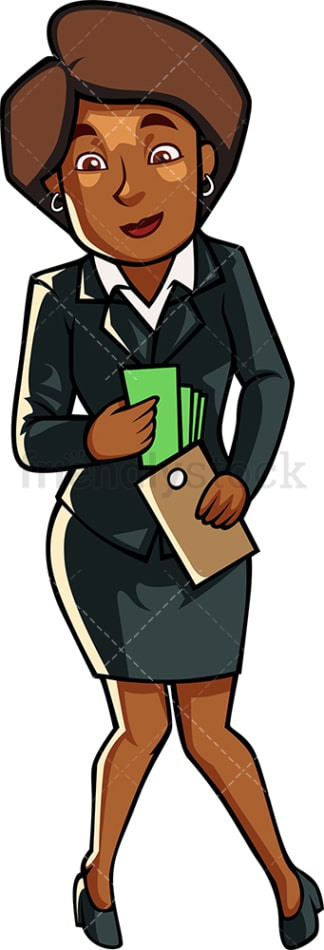 Black woman holding stack of money. PNG - JPG and vector EPS file formats (infinitely scalable). Image isolated on transparent background.