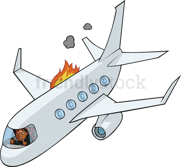 Black woman in airplane going down. PNG - JPG and vector EPS file formats (infinitely scalable). Image isolated on transparent background.