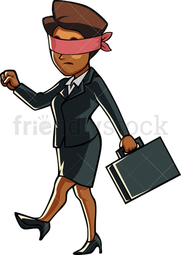 Blindfolded black business woman. PNG - JPG and vector EPS file formats (infinitely scalable). Image isolated on transparent background.