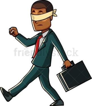Blindfolded black entrepreneur. PNG - JPG and vector EPS file formats (infinitely scalable). Image isolated on transparent background.