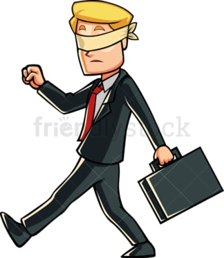 Blindfolded businessman walking. PNG - JPG and vector EPS file formats (infinitely scalable). Image isolated on transparent background.