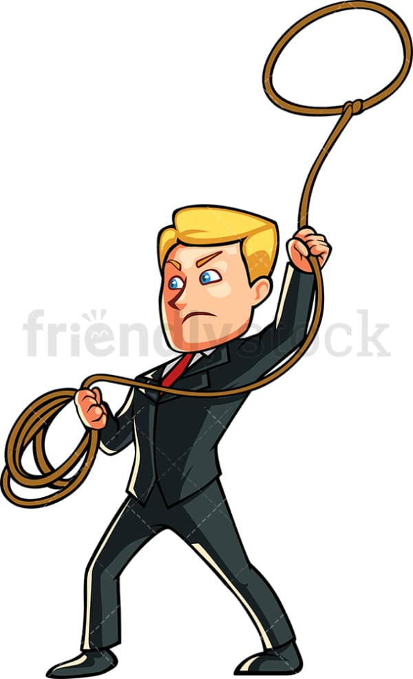 Business man throwing lasso rope. PNG - JPG and vector EPS file formats (infinitely scalable). Image isolated on transparent background.