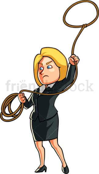 Business woman throwing the lasso. PNG - JPG and vector EPS file formats (infinitely scalable). Image isolated on transparent background.
