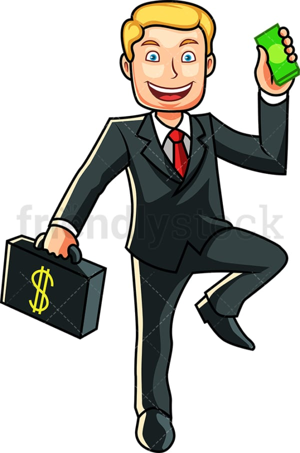 Businessman holding wad of cash. PNG - JPG and vector EPS file formats (infinitely scalable). Image isolated on transparent background.