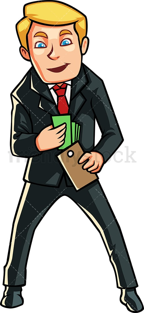 Businessman taking cash out of wallet. PNG - JPG and vector EPS file formats (infinitely scalable). Image isolated on transparent background.