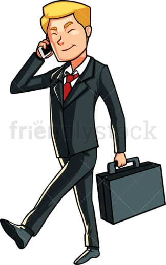 Businessman talking on the phone. PNG - JPG and vector EPS file formats (infinitely scalable). Image isolated on transparent background.