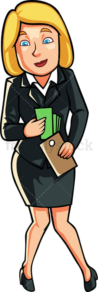 Businesswoman holding money and wallet. PNG - JPG and vector EPS file formats (infinitely scalable). Image isolated on transparent background.