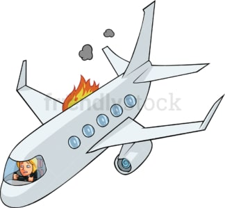 Businesswoman in airplane on fire. PNG - JPG and vector EPS file formats (infinitely scalable). Image isolated on transparent background.