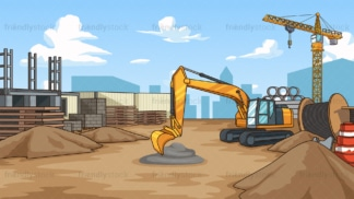 Construction site background in 16:9 aspect ratio. PNG - JPG and vector EPS file formats (infinitely scalable).