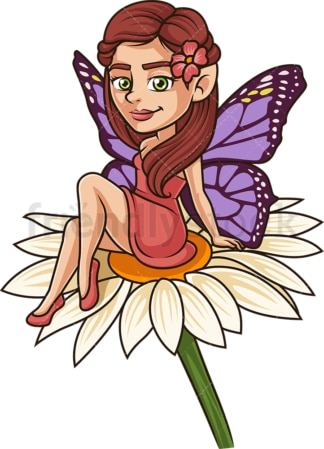 Fairy sitting on large flower. PNG - JPG and vector EPS (infinitely scalable).